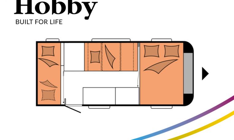Hobby ONTOUR 470 KMF model 2022 Cannenburg plattegrond slapen