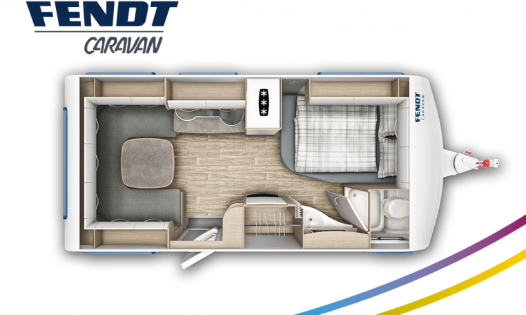 Fendt Bianco Selection 465 SFB model 2022 plattegrond bedden slapen