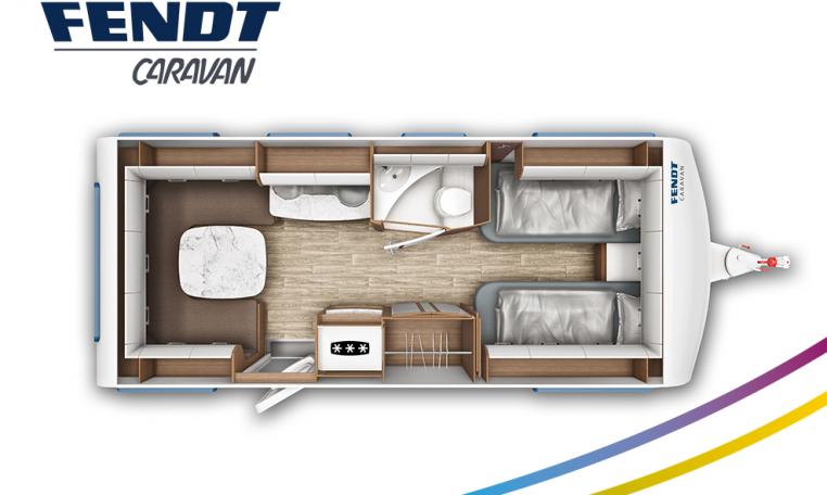 Fendt Opal 550 SG model 2022 plattegrond bedden slapen