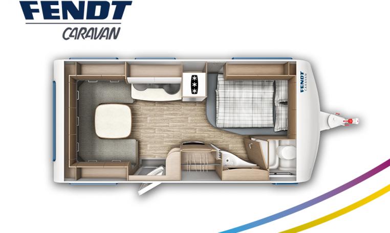 Fendt Saphir 465 SFB model 2022 plattegrond bedden slapen