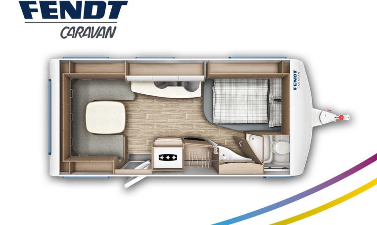 Fendt Saphir 495 SFB model 2022 plattegrond bedden slapen