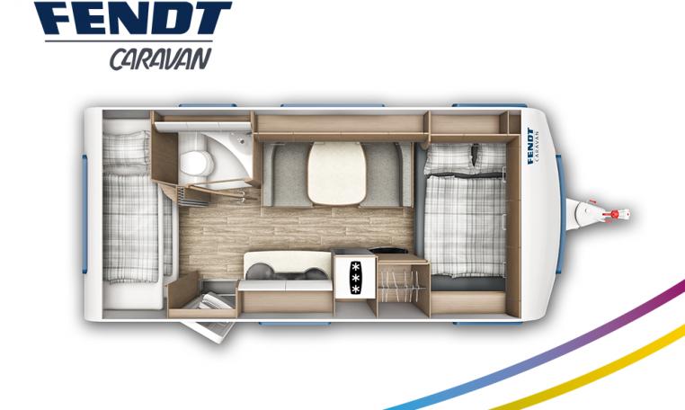 Fendt Saphir 495 SKM model 2022 plattegrond bedden slapen