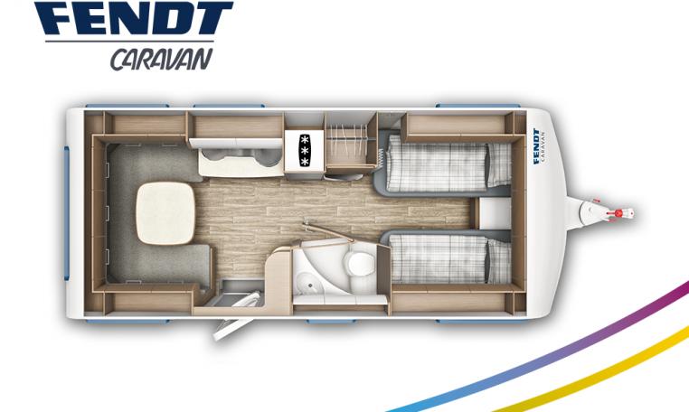 Fendt Saphir 515 SG model 2022 plattegrond bedden slapen