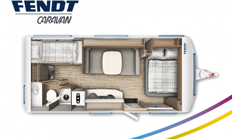 Fendt Saphir 560 SKM model 2022 plattegrond bedden slapen