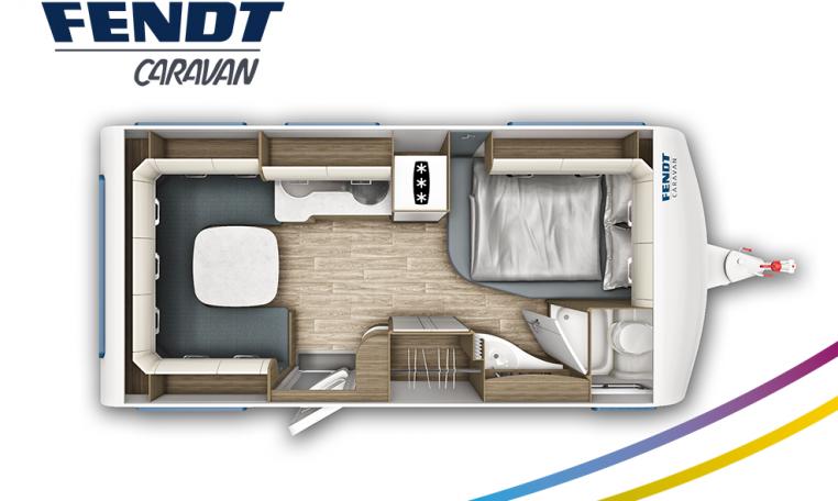 Fendt Tendenza 465 SFB model 2022 plattegrond bedden slapen