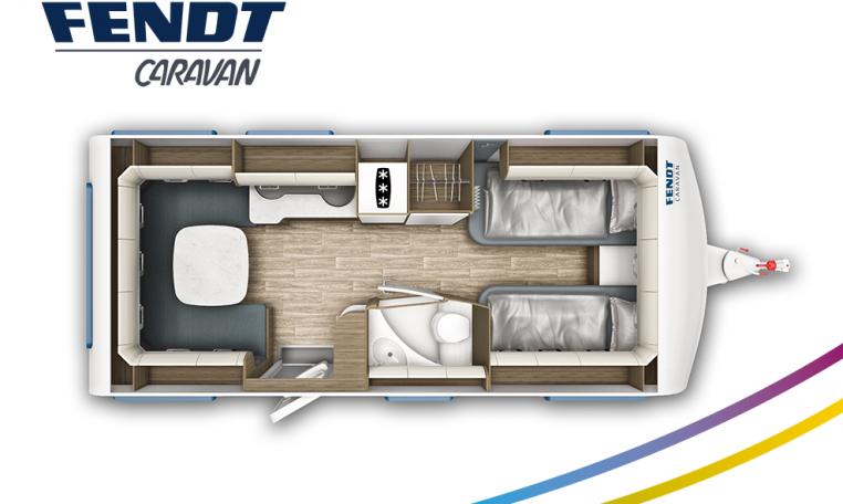Fendt Tendenza 515 SG model 2022 plattegrond bedden slapen