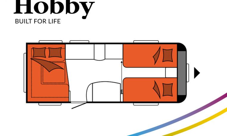 Hobby Excellent 540 UL model 2022 Cannenburg Plattegrond slapen