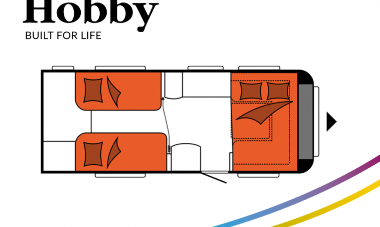 Hobby Excellent 540 WLU model 2022 Cannenburg Plattegrond slapen