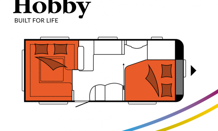 Hobby Excellent 560 CFe model 2022 Cannenburg Plattegrond slapen bed