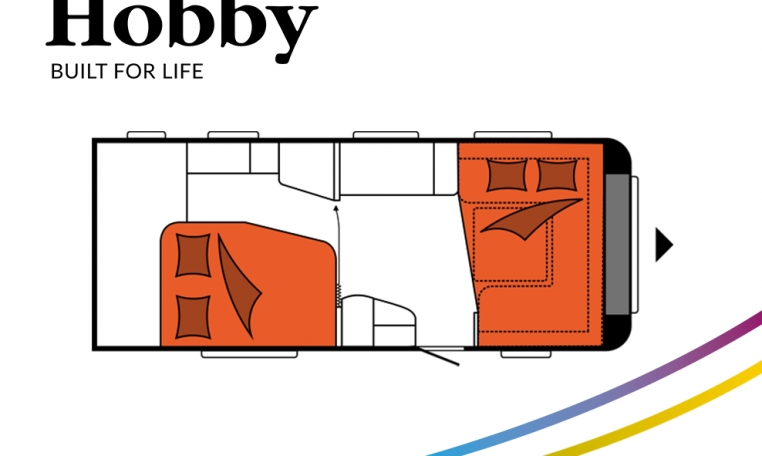 Hobby Excellent 560 WFU model 2022 Cannenburg Plattegrond slapen bedden