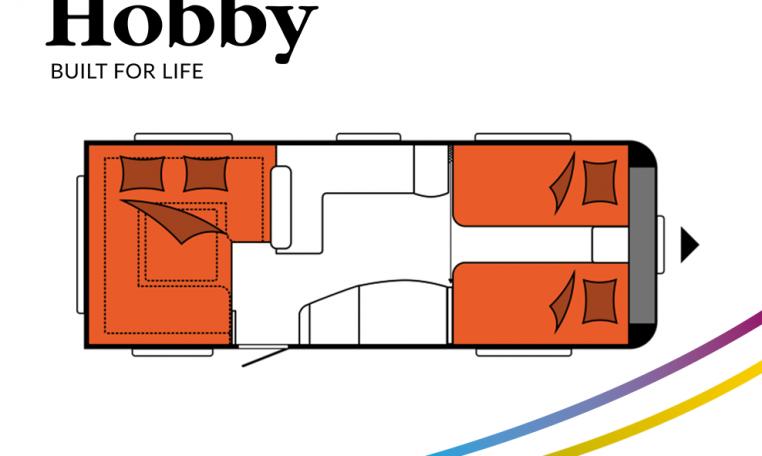 Hobby Excellent 620 CL model 2022 Cannenburg Plattegrond slapen bedden