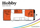 Hobby Excellent 650 UMFe model 2022 Cannenburg Plattegrond slapen bedden