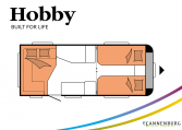 Hobby MAXIA 495 UL model 2022 Cannenburg plattegrond slapen bedden