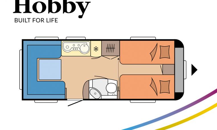 Hobby Prestige 540 UL model 2022 Cannenburg plattegrond