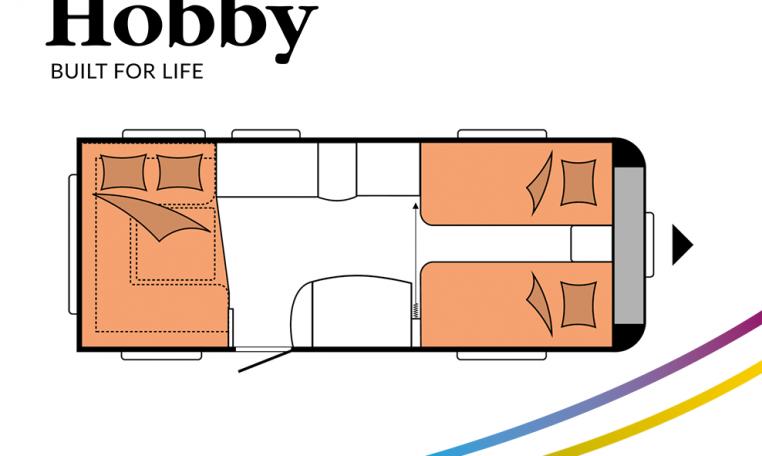 Hobby Prestige 540 UL model 2022 Cannenburg plattegrond slapen bedden