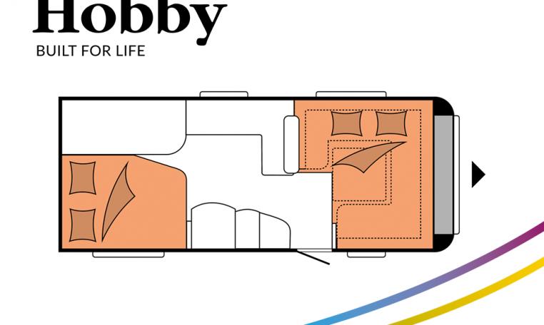 Hobby Prestige 560 FC model 2022 Cannenburg plattegrond slapen bedden