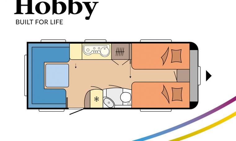 Hobby Prestige 560 UL model 2022 Cannenburg plattegrond