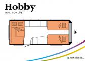 Hobby Prestige 560 UL model 2022 Cannenburg plattegrond bedden slapen