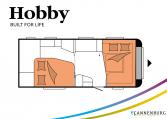 Hobby Prestige 560 WFU model 2022 Cannenburg plattegrond slapen bedden