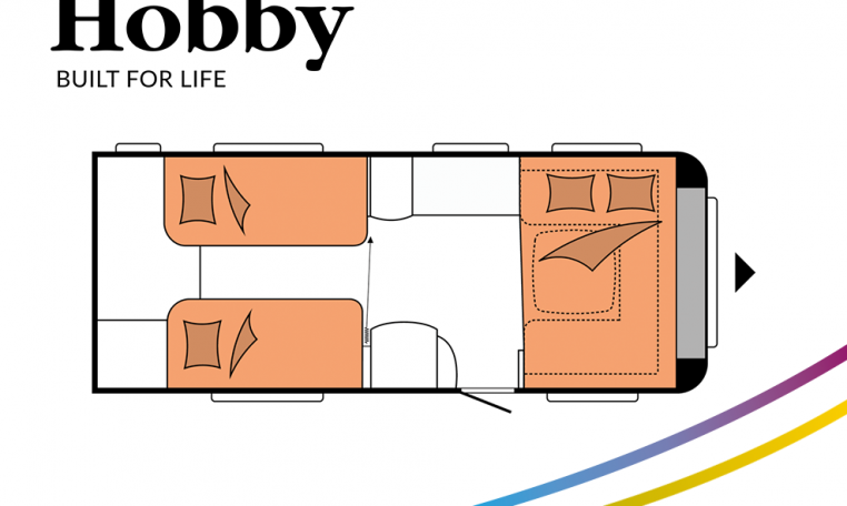 Hobby Prestige 560 WLU model 2022 Cannenburg plattegrond slapen bedden