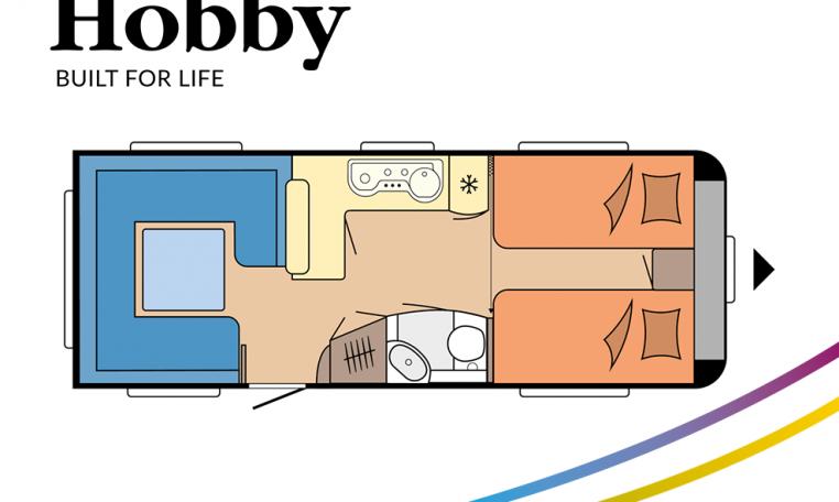 Hobby Prestige 620 CL model 2022 Cannenburg plattegrond