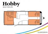 Hobby Prestige 620 CL model 2022 Cannenburg plattegrond slapen bedden