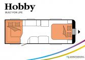 Hobby Prestige 650 UFf model 2022 Cannenburg Plattegrond slapen bedden