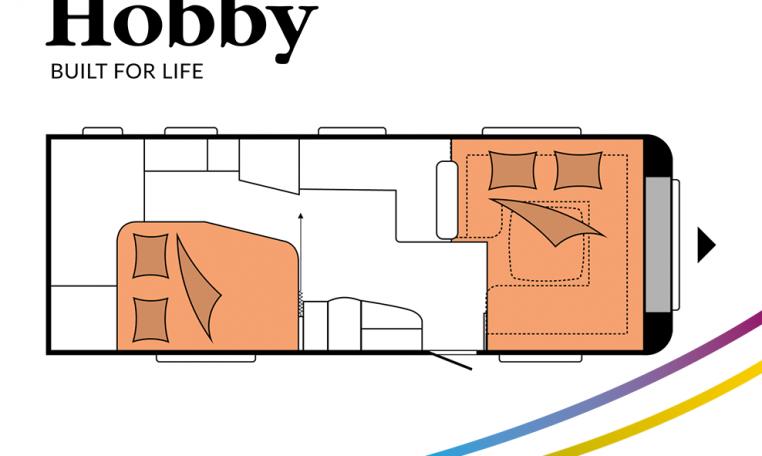 Hobby Prestige 660 WFC model 2022 Cannenburg plattegrond bedden slapen