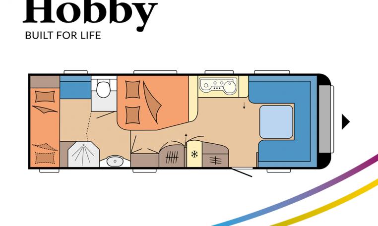 Hobby Prestige 720 KWFU model 2022 Cannenburg plattegrond