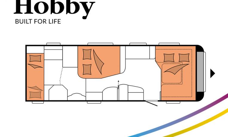 Hobby Prestige 720 KWFU model 2022 Cannenburg plattegrond slapen bedden