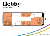 Hobby Prestige 720 UKFe model 2022 Cannenburg plattegrond slapen bedden