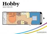 Hobby Prestige 720 WQC model 2022 Cannenburg plattegrond