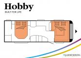 Hobby Prestige 720 WQC model 2022 Cannenburg plattegrond slapen bedden