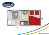 Plattegrond slapen caravelair alba 390 model 2022