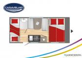 Plattegrond slapen caravelair alba 466 model 2022