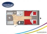 Plattegrond slapen caravelair Antares Titanium 450 model 2022