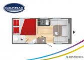 Plattegrond slapen caravelair Antares Titanium 455 model 2022