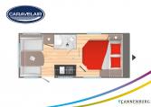Plattegrond slapen caravelair Antares Titanium 470 model 2022