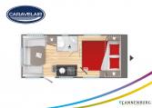 Plattegrond slapen caravelair Artica 490 model 2022