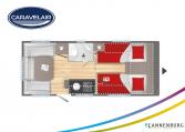 Plattegrond slapen caravelair Artica 492 model 2022