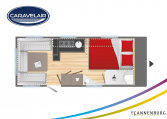 Plattegrond slapen caravelair Artica 520 model 2022
