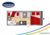 Plattegrond slapen caravelair alba style 496 model 2022